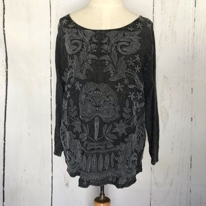 LUCKY BRAND black embroidered tunic
